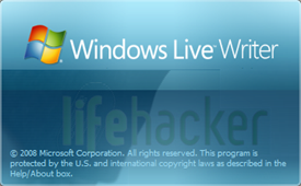 Windows Live Writer logo and Lifehacker fade