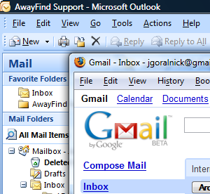 Outlook and Gmail in Windows