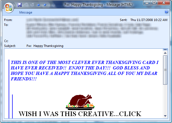 Turkey Day email card