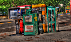 Newspaper stands in Cambridge, MA (flickr: wili_hybrid)